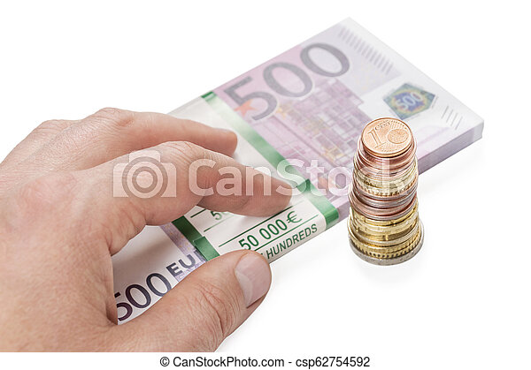 hand on a pack of money - csp62754592