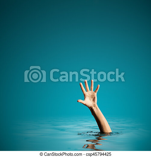 Hand on sea water background asking for help - csp45794425