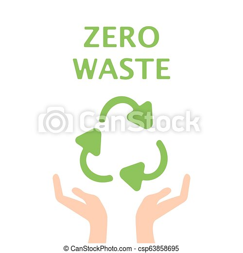 Hand Open Palm Recycle Symbol Logo Green Icon Vector Illustration - csp63858695
