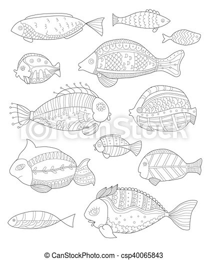 hand painted collection of fish - csp40065843
