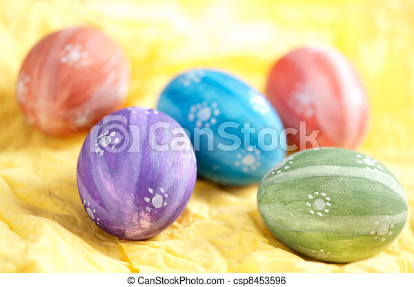 Hand painted easter eggs - csp8453596