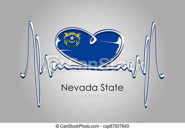 Hand painted heart and Nevada State Flag in Vector Format - csp87507643