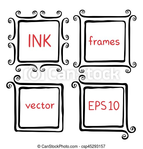 Hand painted ink frames set painted with ink brush. borders with ...