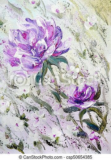 Hand painted modern style purple peonies flowers spring flower hand painted modern style purple peonies flowers csp50654385 mightylinksfo