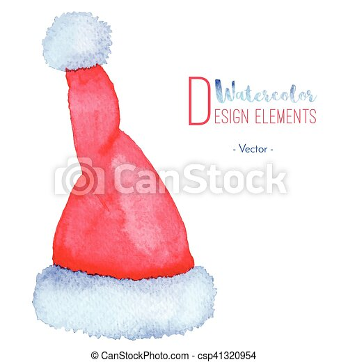 5268426a07206 Hand painted santa claus red hat. Hand painted watercolor santa ...