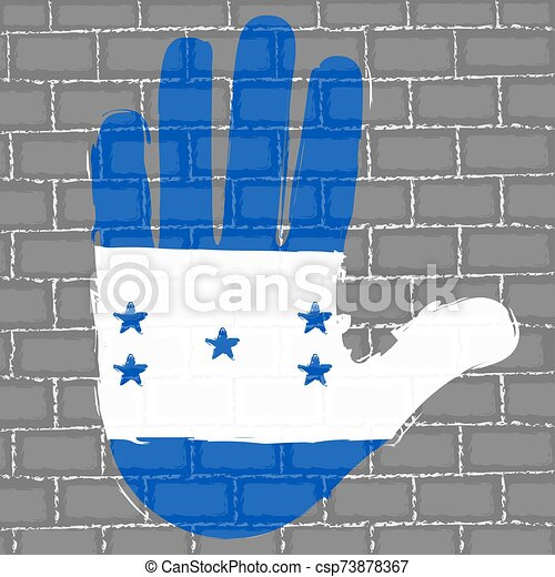 Hand painted with a flag - csp73878367