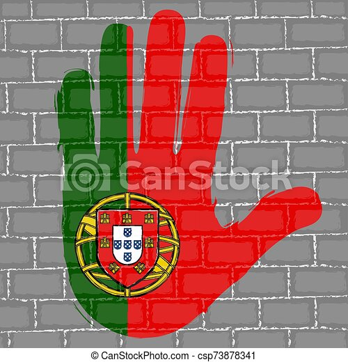Hand painted with a flag - csp73878341
