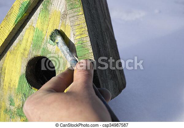 Hand Painting Nesting Box - csp34987587