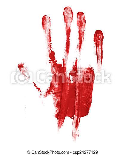 Hand palm oil paint print - csp24277129