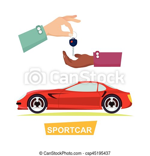 Hand Passing Key. Process of Buying Sportbike - csp45195437