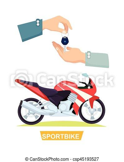 Hand Passing Key. Process of Buying Sportbike - csp45193527