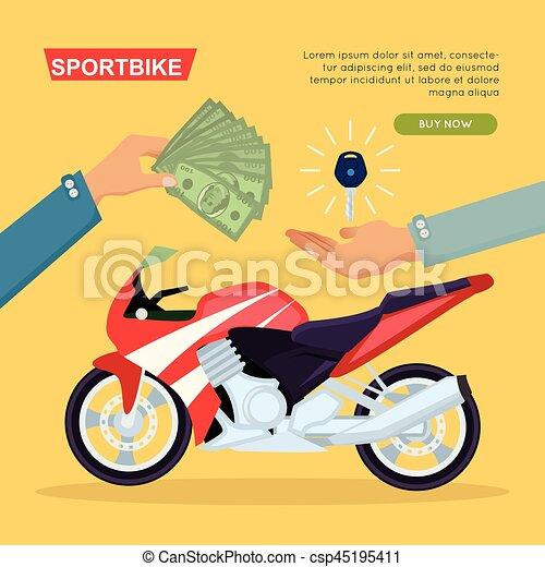Hand Passing Key. Process of Buying Motorbike - csp45195411
