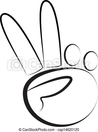 El símbolo de paz manual vector de logo - csp14620120