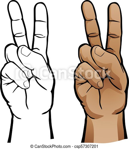 Hand Peace Sign Vector Illustration Human Hand Peace Sign Gesture