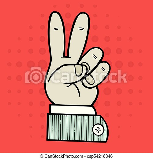 Hand Peace Symbol Sign Vector Illustration With Hand Indicating