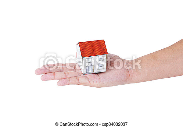 Hand people holding paper house model Isolated on white backgrounds - csp34032037