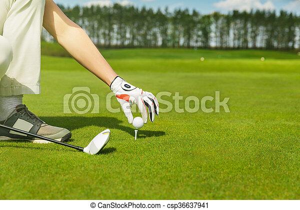 hand placing golf ball on tee - csp36637941