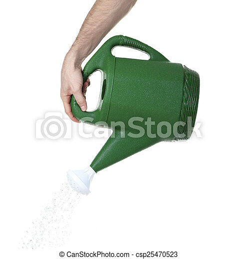 Hand pouring water from watering can - csp25470523