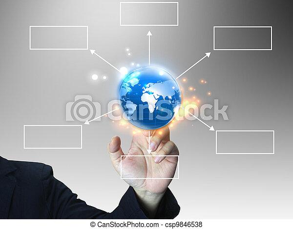 hand press business diagram  - csp9846538