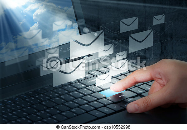 hand press button and e-mail - csp10552998