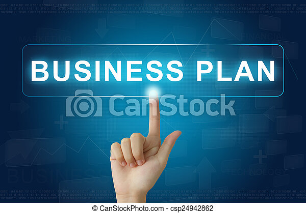 hand press on business plan button on touch screen - csp24942862