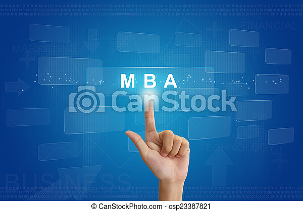hand press on MBA or Master of Business Administration button - csp23387821
