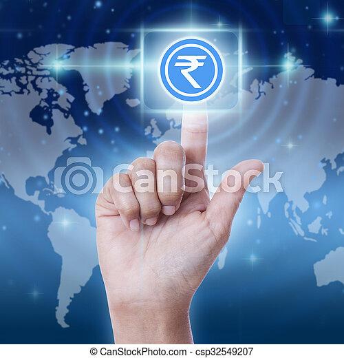 Hand press rupee sign button, business concept - csp32549207