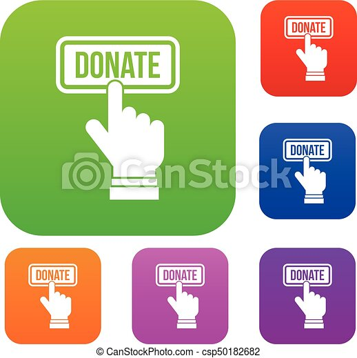 Hand presses button to donate set collection - csp50182682