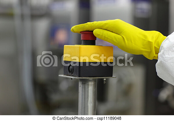 hand pressing button - csp11189048