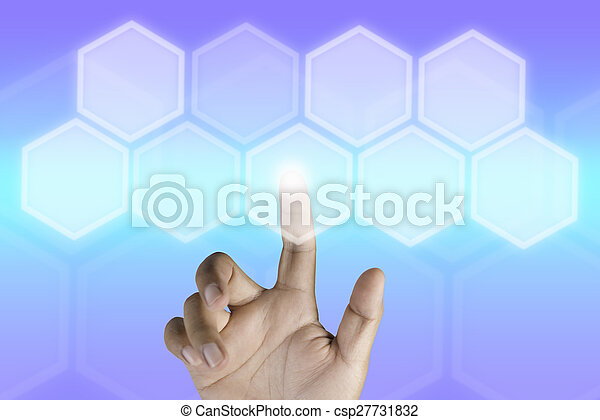Hand pressing button with technology background - csp27731832
