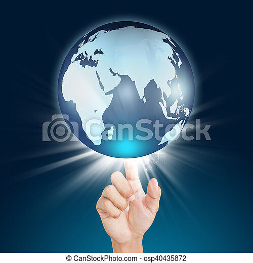 hand pressing globe, touch screen button - csp40435872