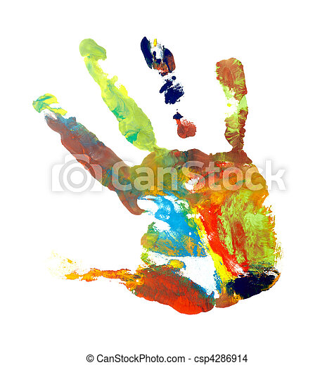 hand print color art craft trace paint close up of colored hand