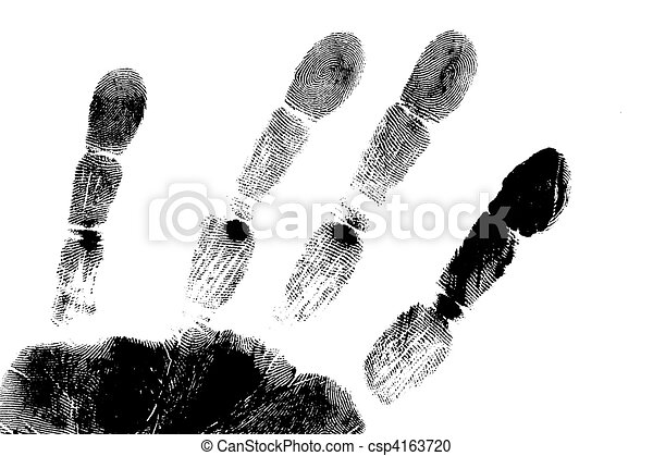 hand print printout of human hand with unique detail stock