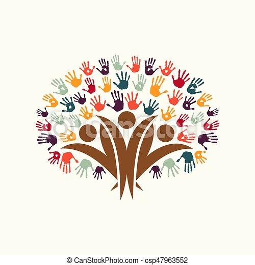 Hand Print People Tree Symbol For Community Help Handprint Tree