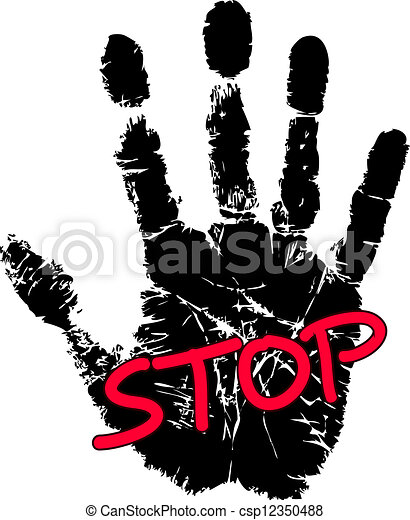 Hand print with stop sign.
