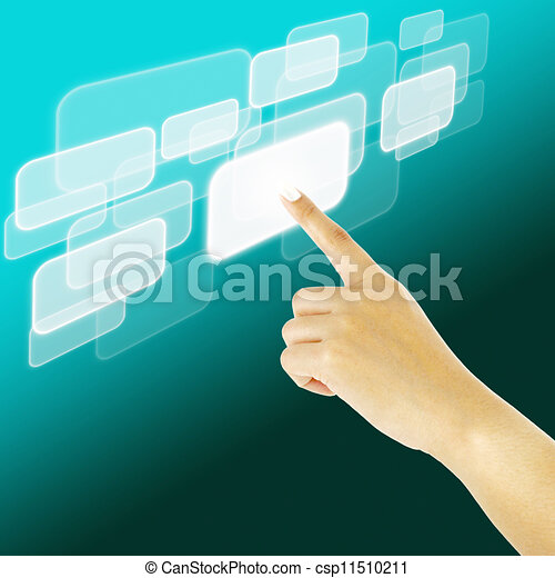 hand pushing a button on a touch screen interface - csp11510211