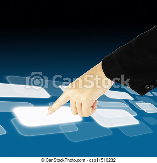 hand pushing a button on a touch screen interface - csp11510232