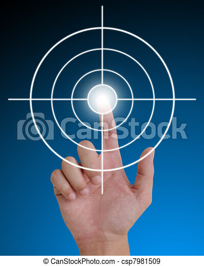 hand pushing a button on a touch screen interface. - csp7981509