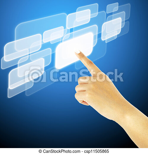 hand pushing a button on a touch screen interface - csp11505865