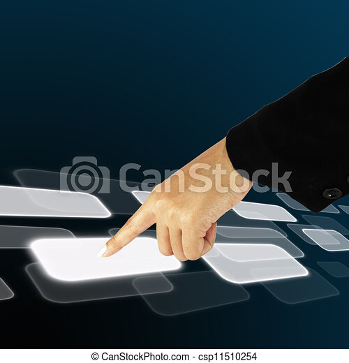 hand pushing a button on a touch screen interface - csp11510254