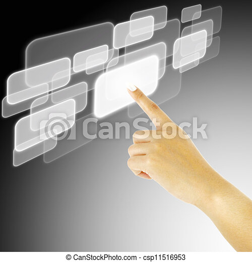 hand pushing a button on a touch screen interface - csp11516953