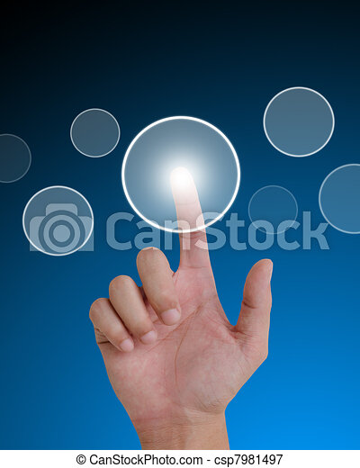 hand pushing a button on a touch screen interface. - csp7981497