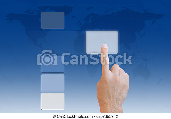 Hand pushing a button on touch screen interface - csp7395942