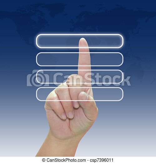 Hand pushing a button on touch screen interface - csp7396011