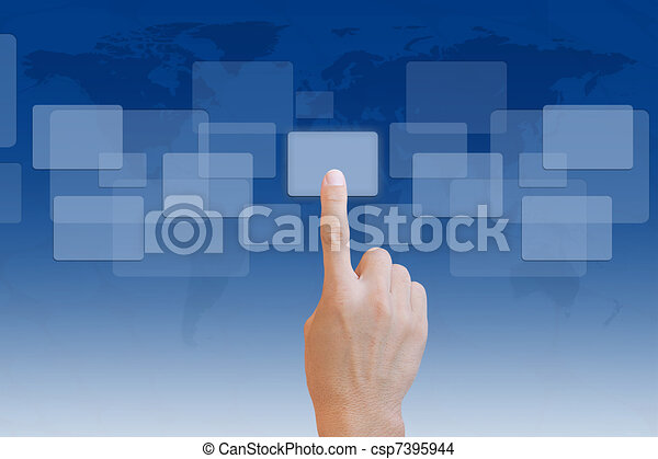 Hand pushing a button on touch screen interface - csp7395944