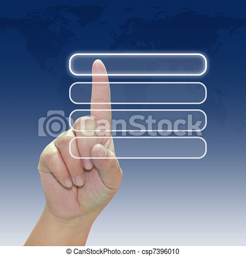 Hand pushing a button on touch screen interface - csp7396010