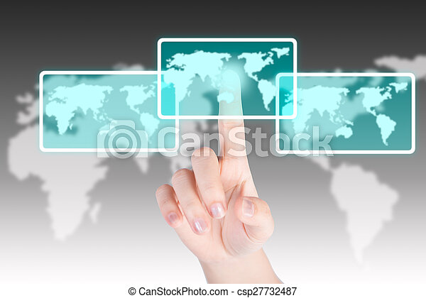 Hand pushing and touch world map button with technology background - csp27732487