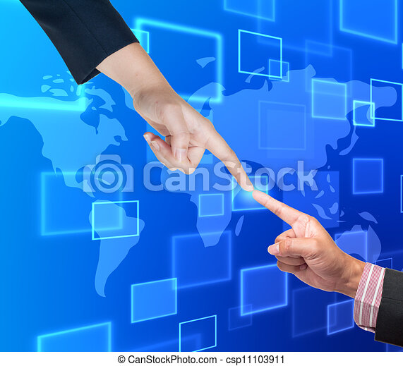 Hand pushing button on a touch screen interface  - csp11103911