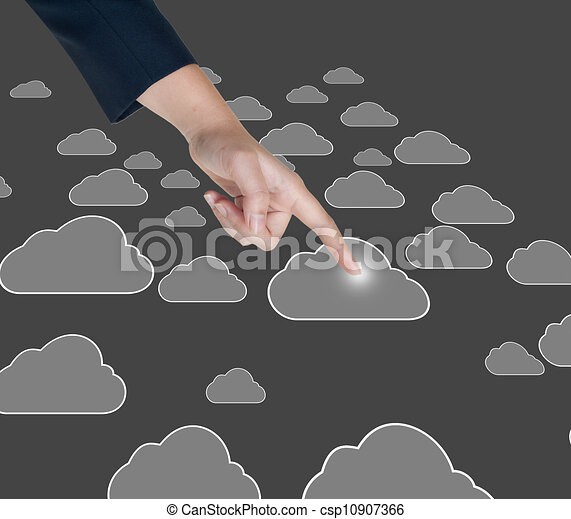Hand pushing cloud button on a touch screen interface  - csp10907366