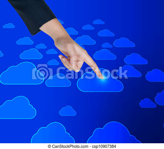Hand pushing cloud button on a touch screen interface  - csp10907384